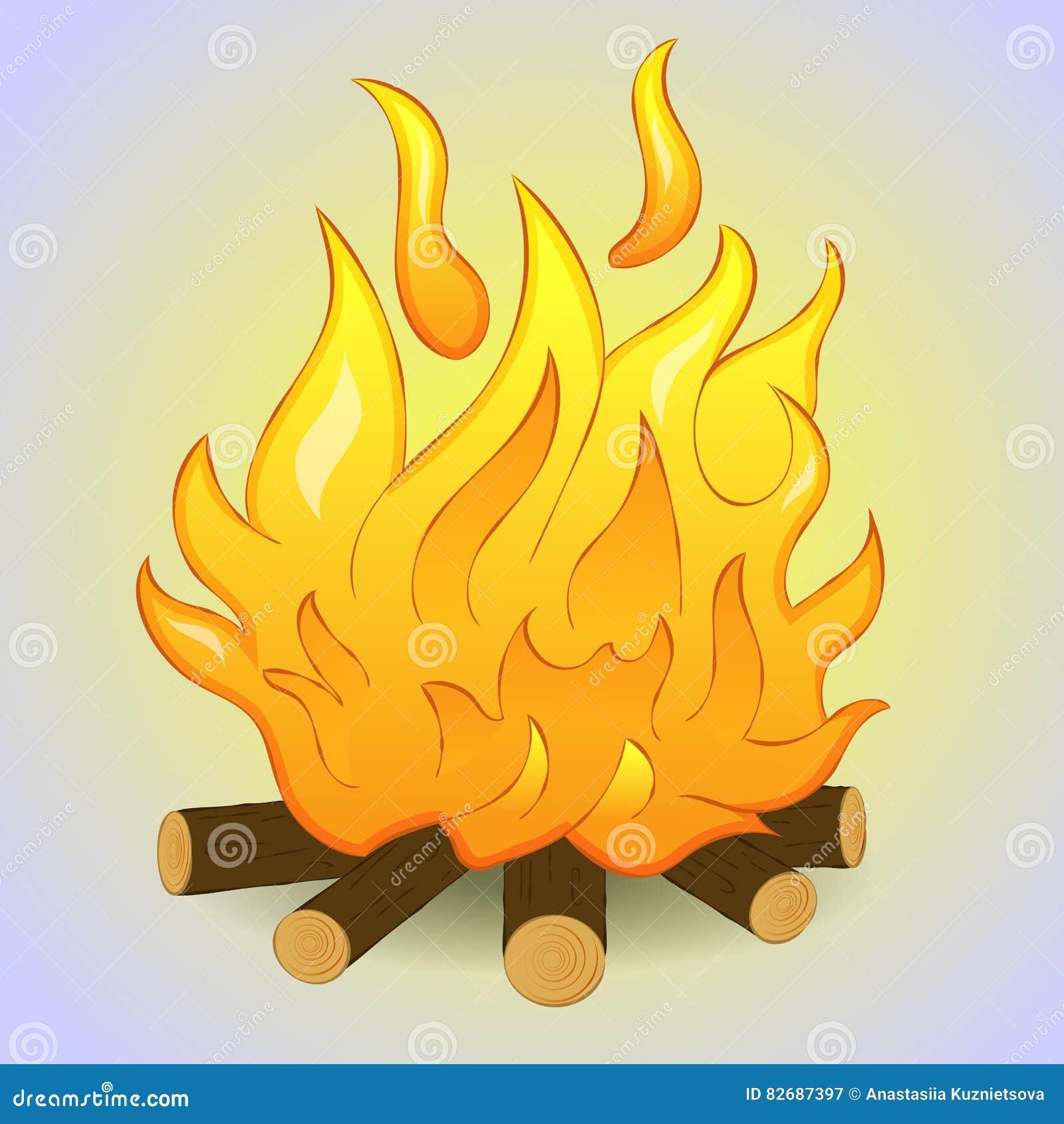 Vuur met hout en vlambrand op grijze achtergrond Eenvoudige beeldverhaalstijl Vector illustratie