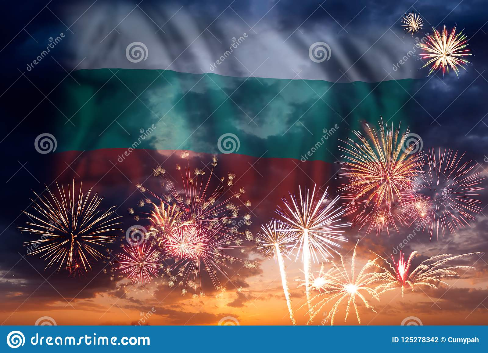 Vuurwerk en vlag van Bulgarije