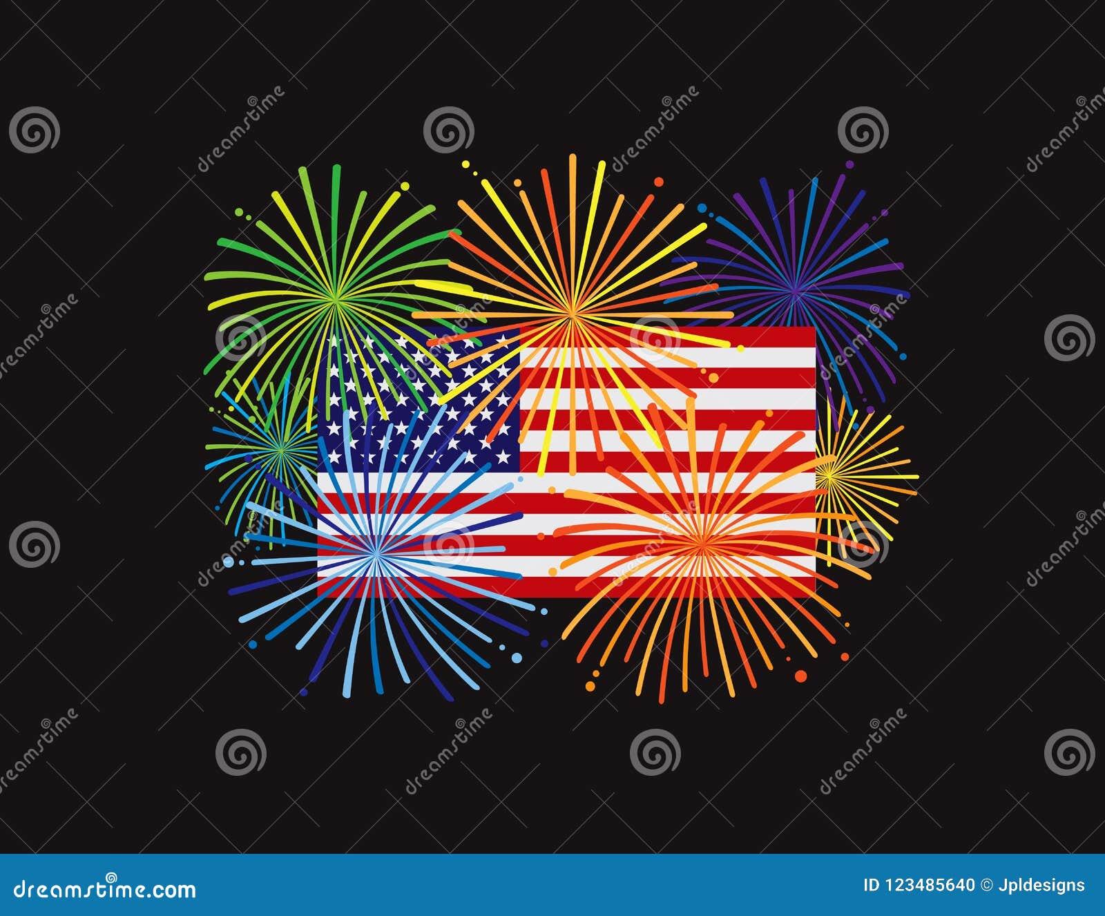 Vuurwerk over Illustratie van de Vlag Zwarte BG van de V.S. de Amerikaanse