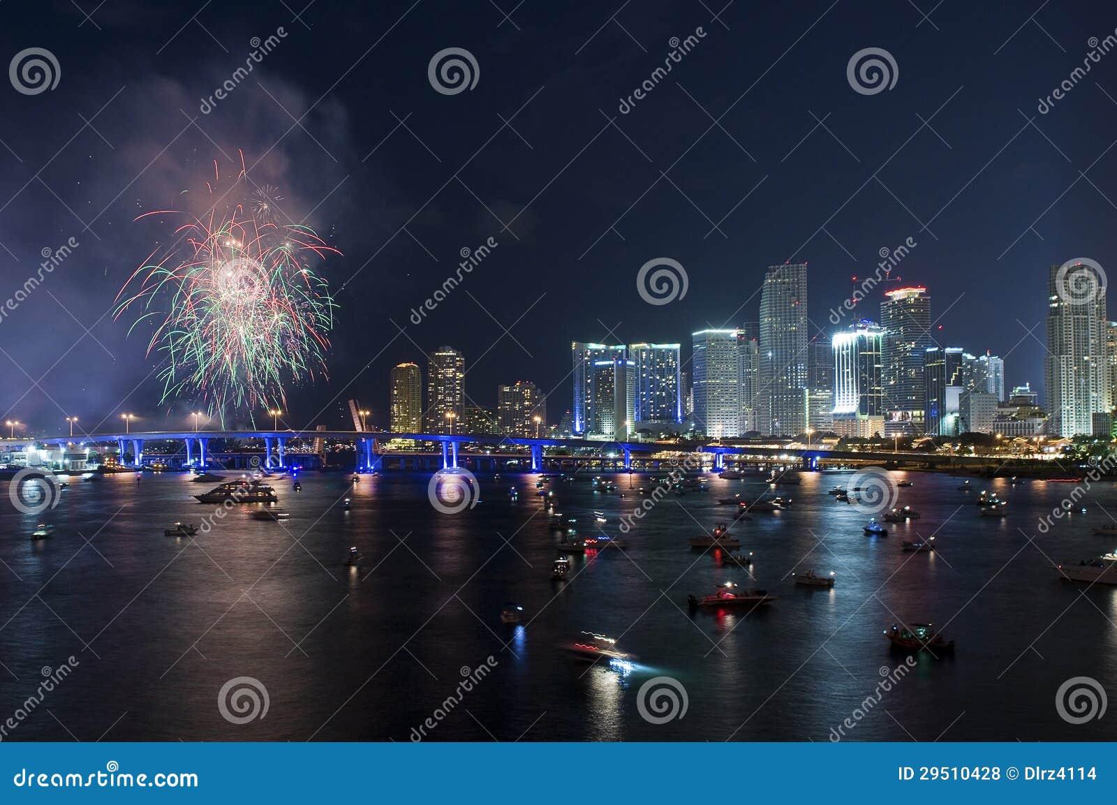 Vuurwerk over Miami