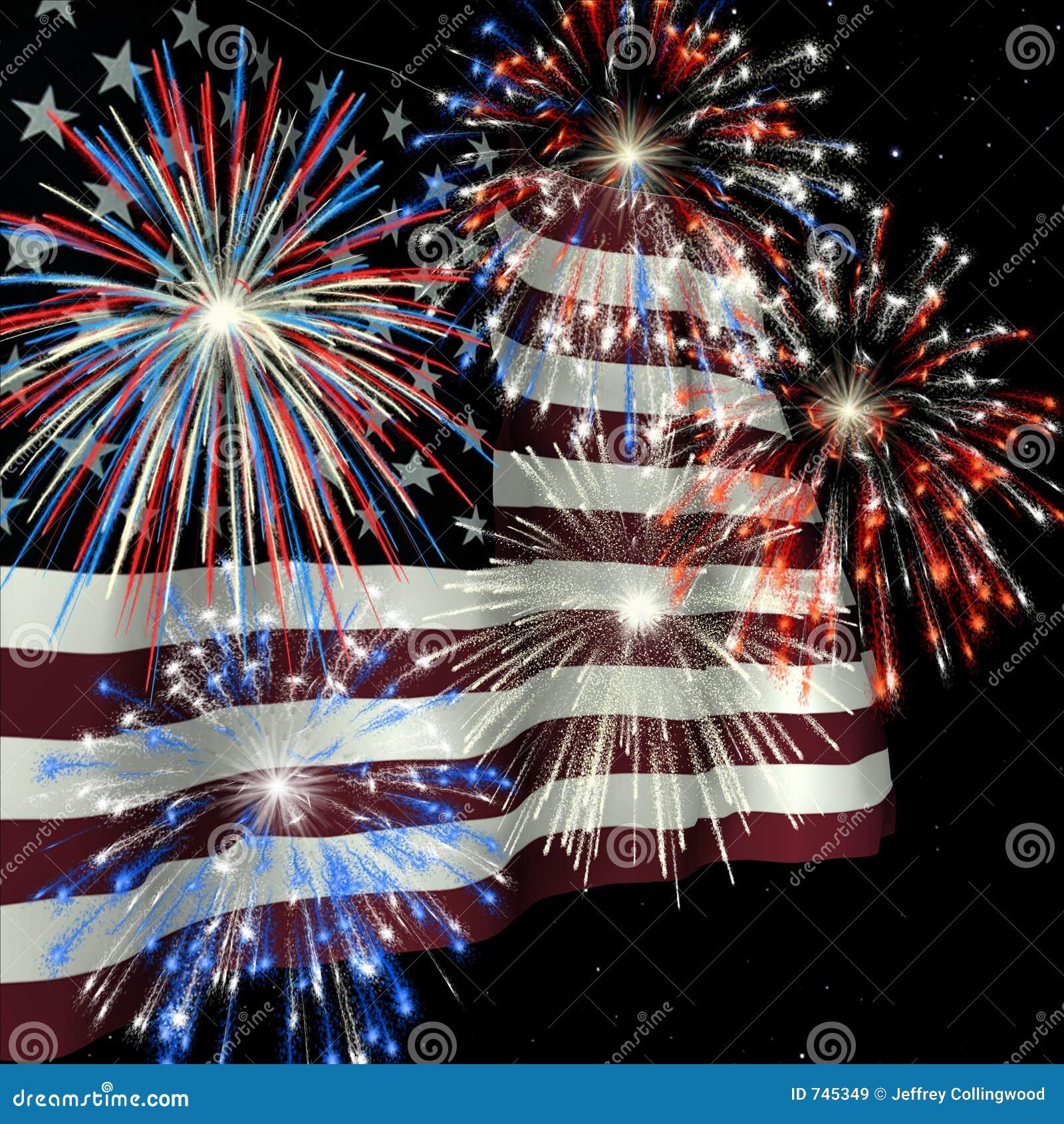 Vuurwerk over Vlag 1 van de V.S.
