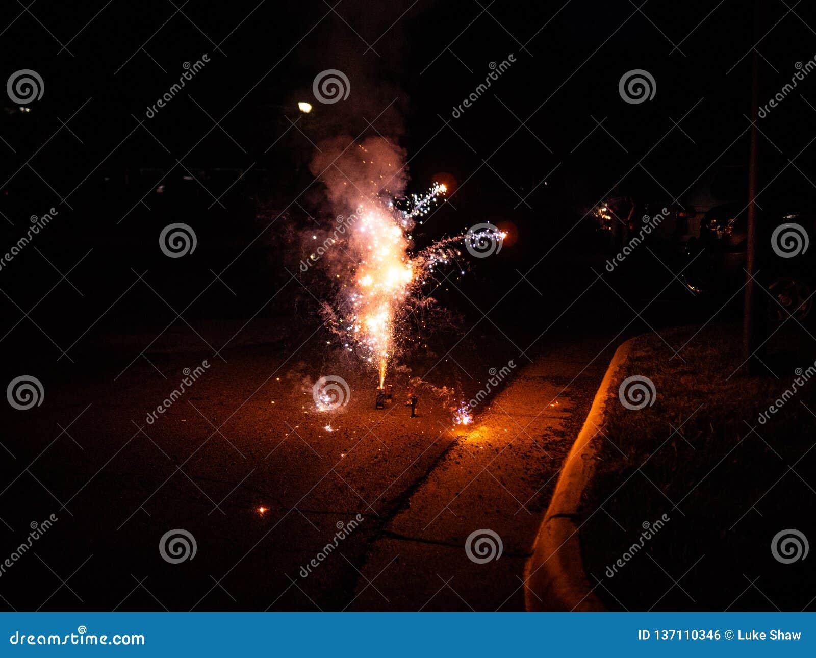 Vuurwerk in Parkeerplaats