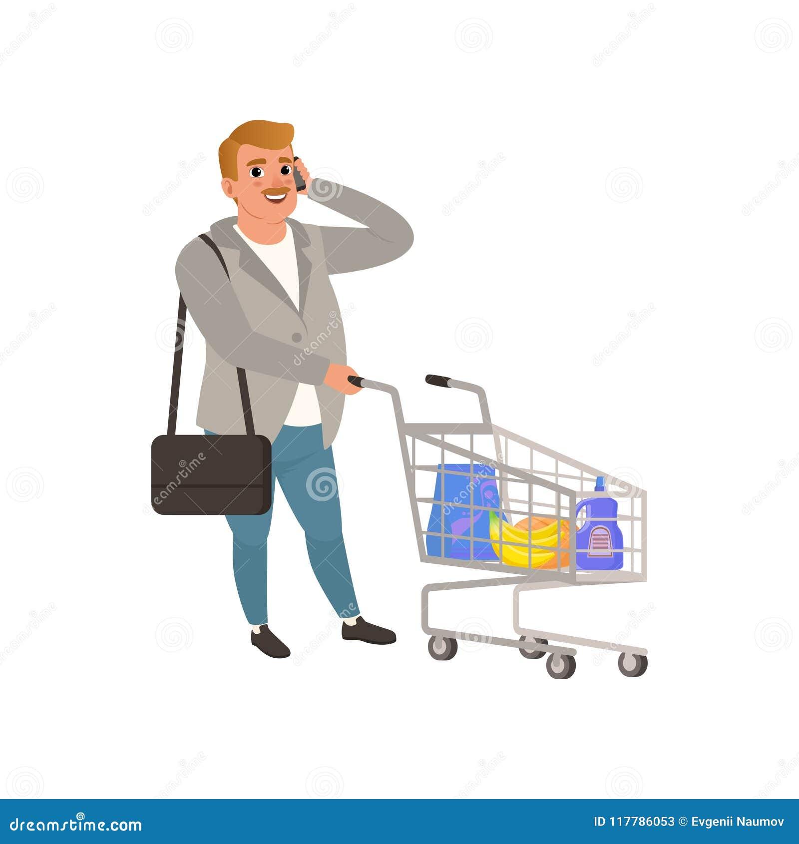 Vuxet mananseende med shoppingvagnen och samtal på telefonen Tecknad filmtecken med mustaschen i kofta och jeans plant
