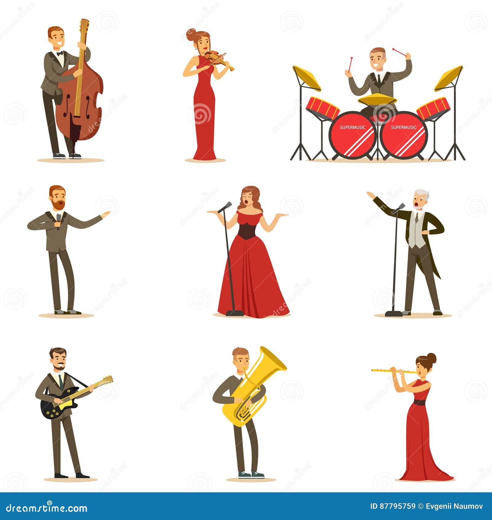 Vuxna musiker och sångare som utför ett musikaliskt nummer på etapp i musik Hall Collection Of Cartoon Characters