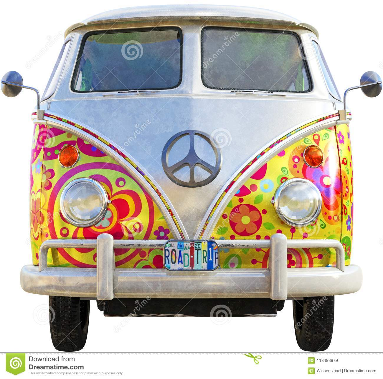 VW-Hippie-Bus Van Isolated