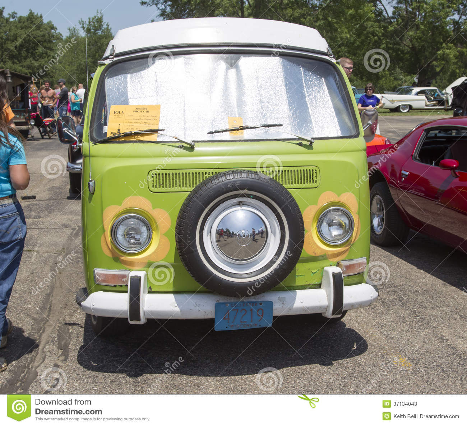 1968 Vw Hippie Camper Special Van Front View Editorial
