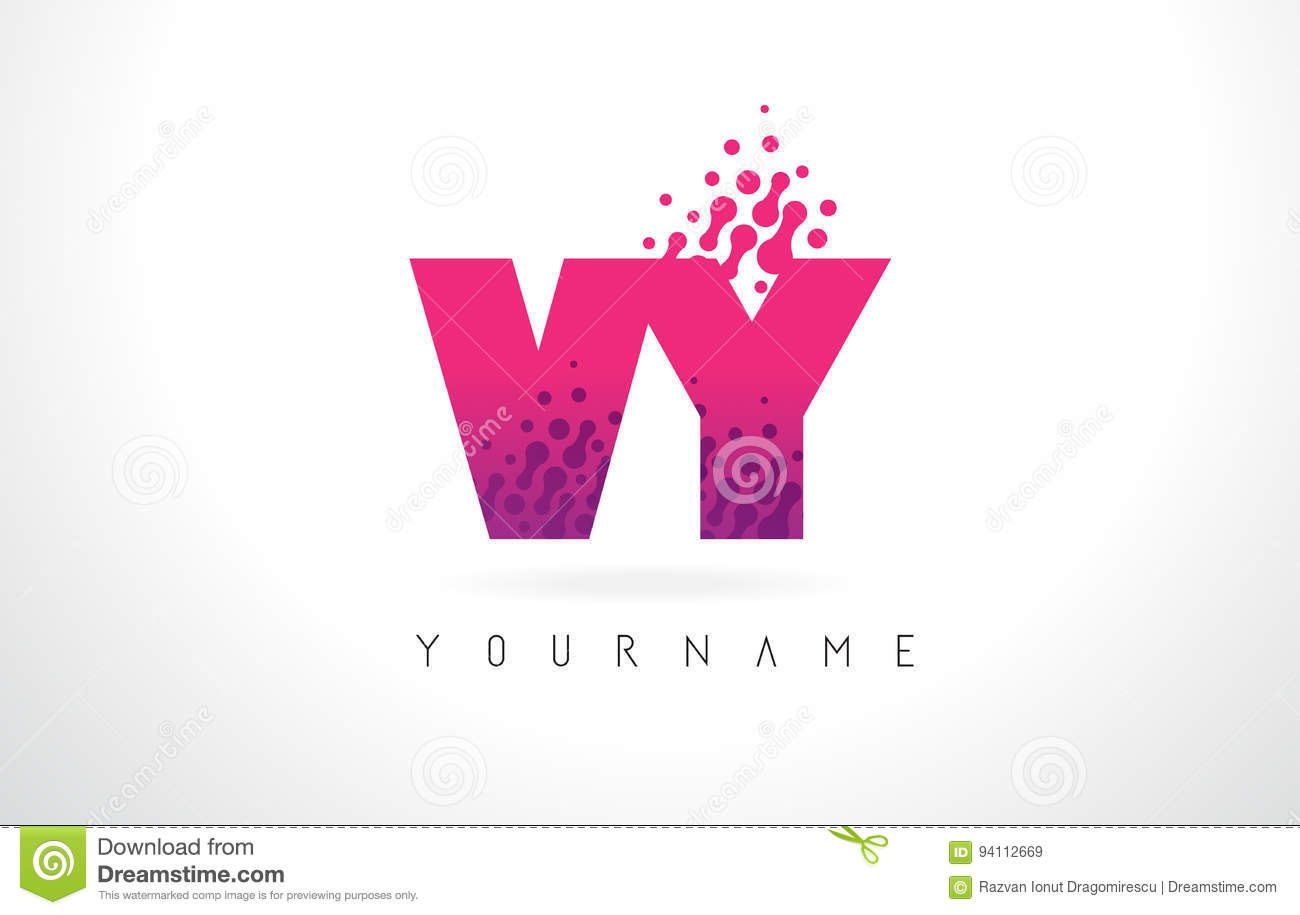 VY V Y Letter Logo With Pink Purple Color And Particles Dots Des ...