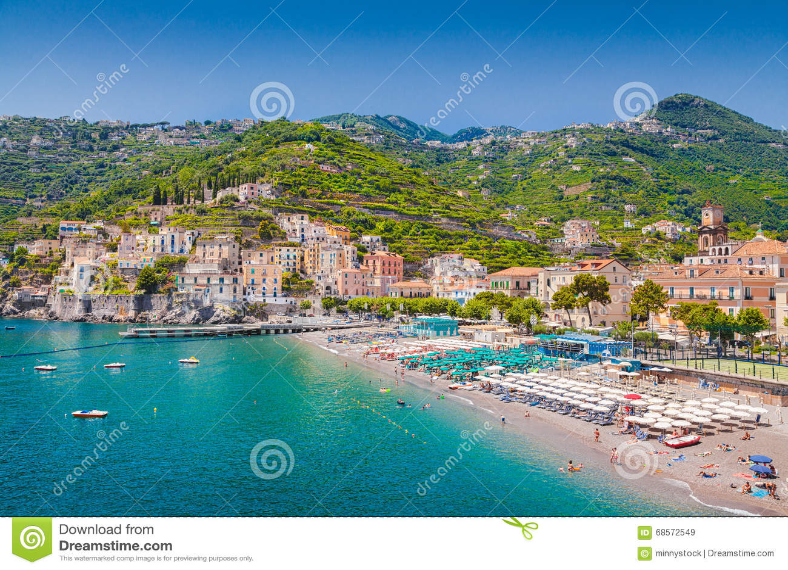 Vykortsikt av Minori, Amalfi kust, Campania, Italien