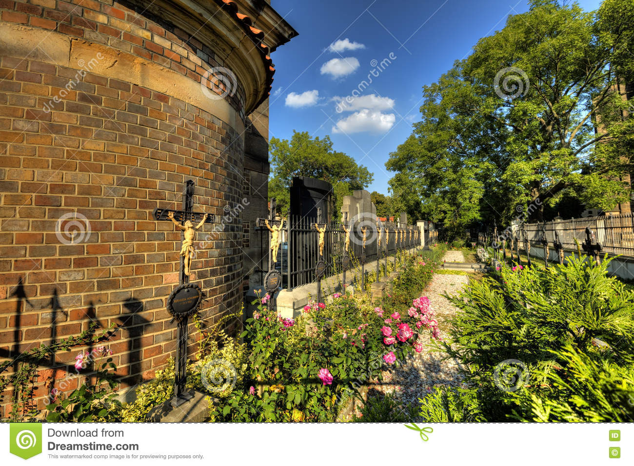 the vysehrad cemetery with famous the slavin tomb designed by