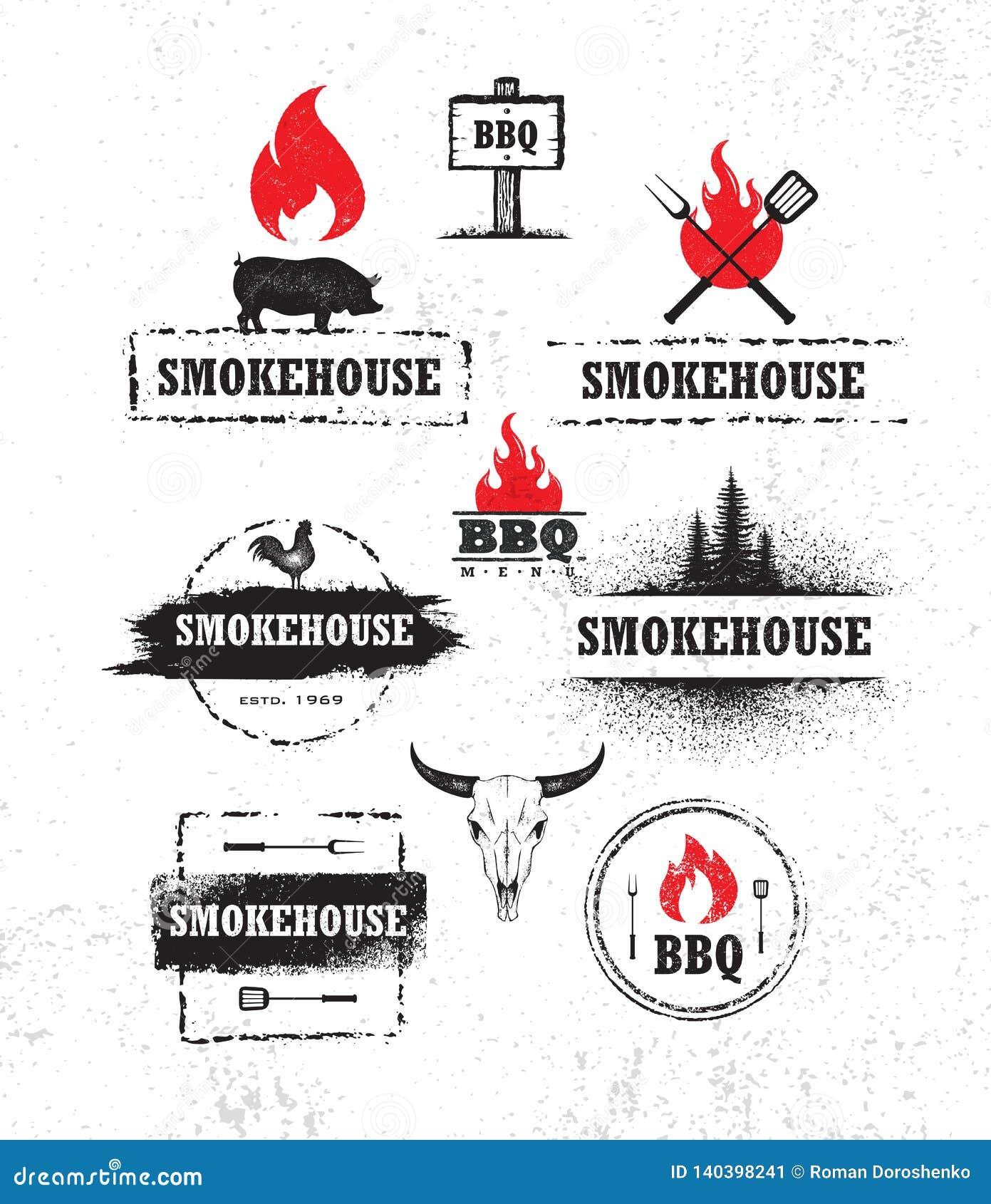 Wędzarnia grilla mięso Na Pożarniczego menu projekta Artisanal Wektorowym elemencie Plenerowego posiłku Kreatywnie Szorstki znak