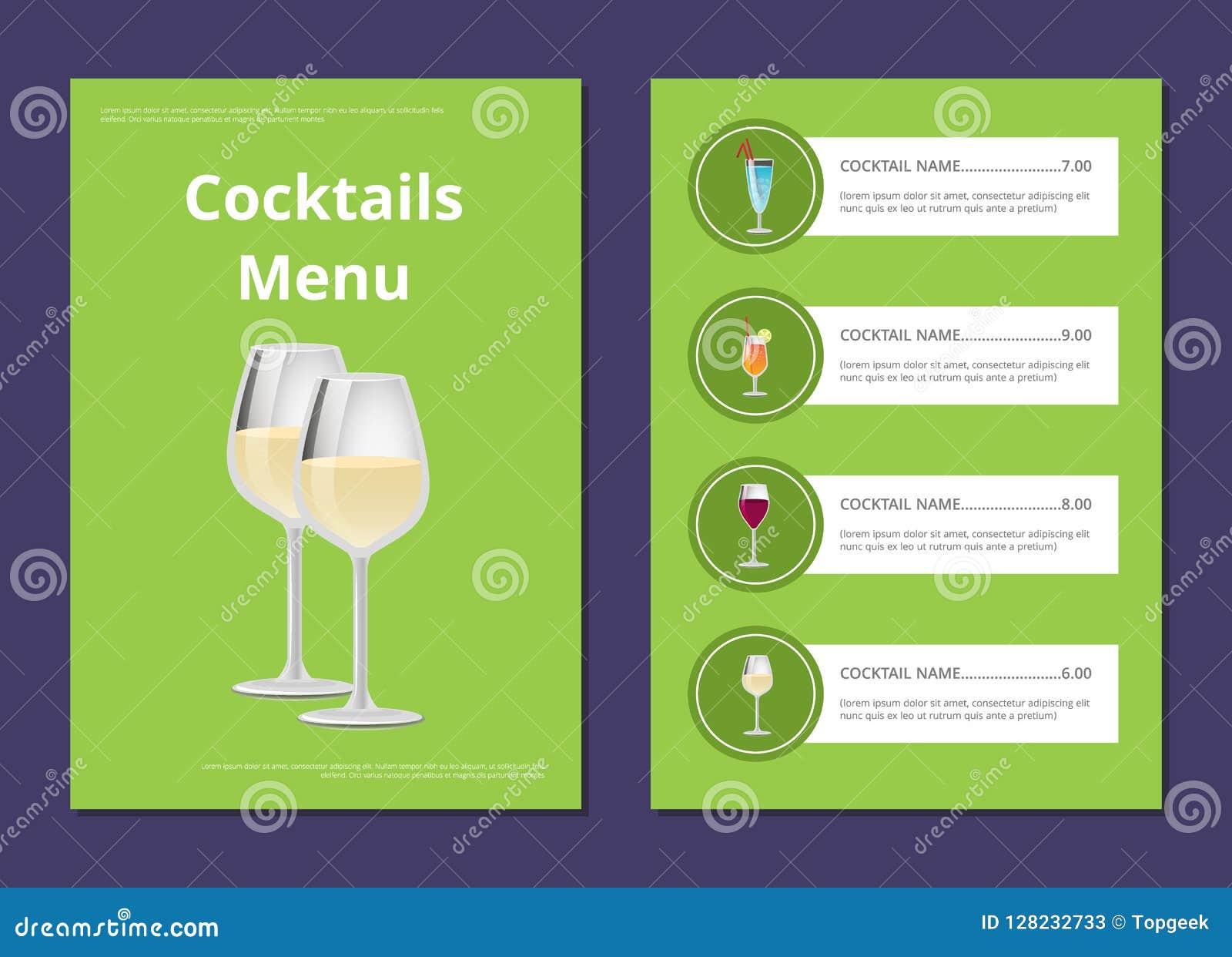Wählen Sie Auffrischungsalkohol-Getränkebar-Karten-Vektor