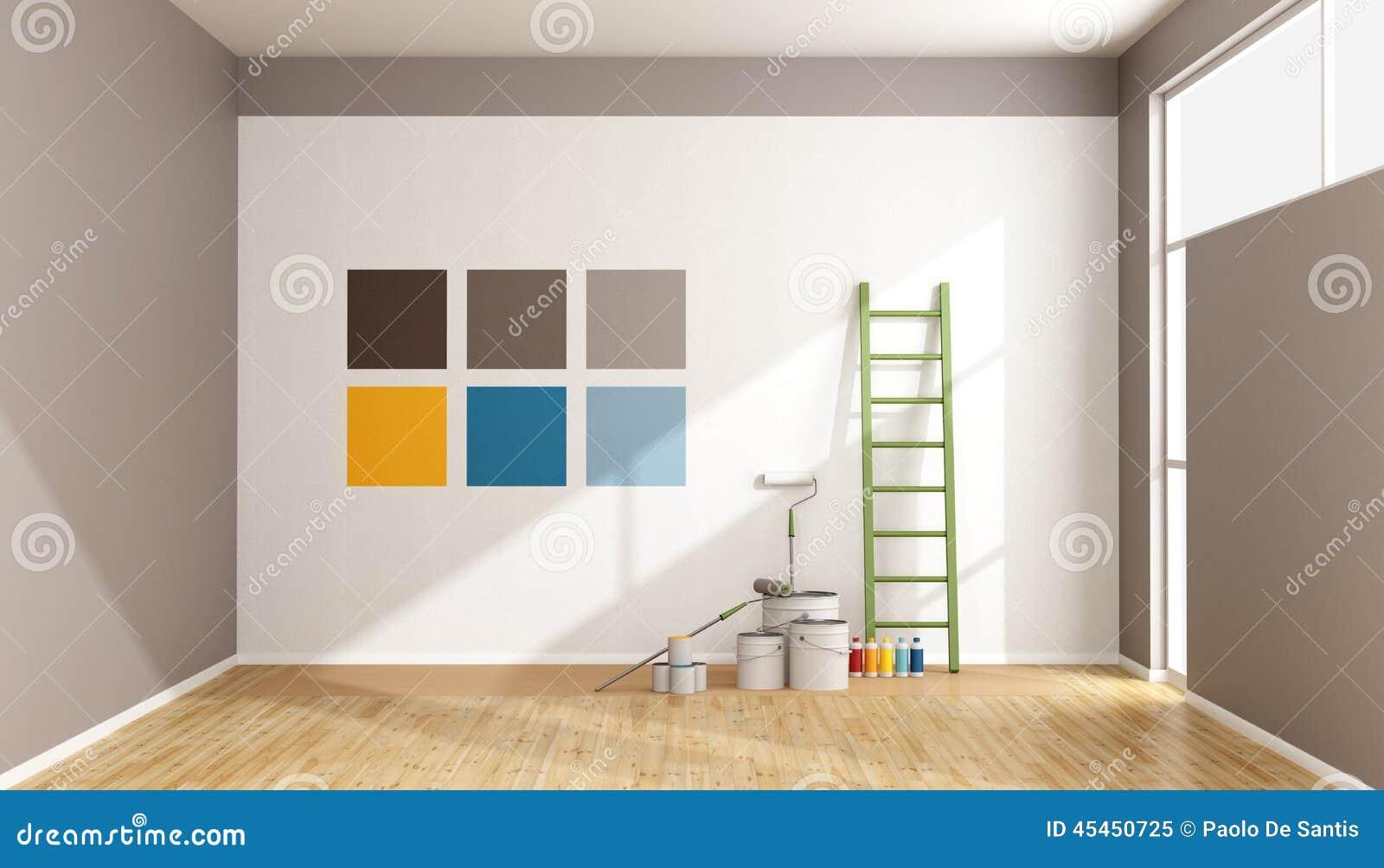Wahlen Sie Farbenmuster Aus Um Wand Zu Malen Stock Abbildung
