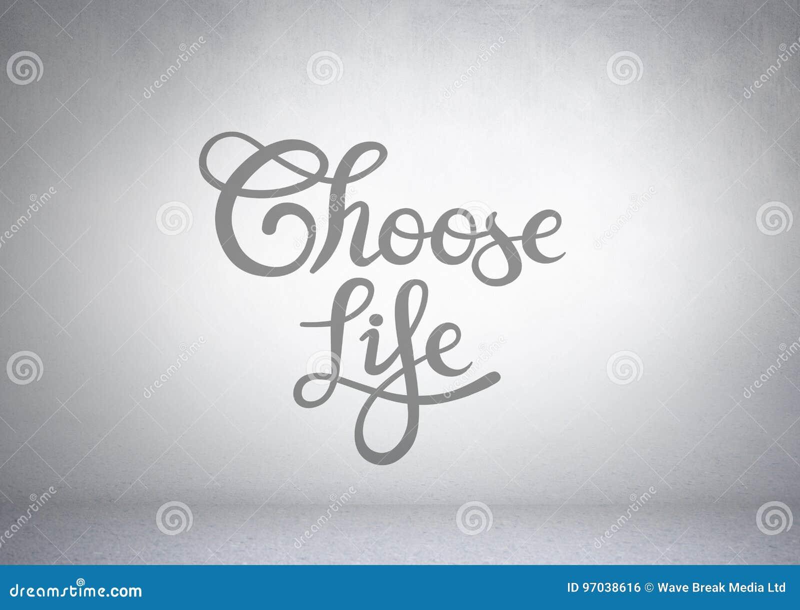 Wählen Sie Lebentext mit hellem Hintergrund