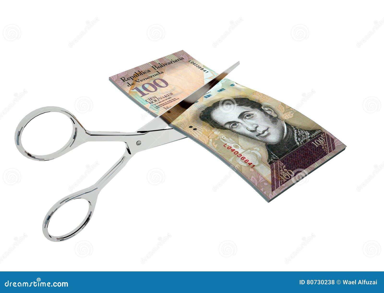 Währung 3D Venezuela mit Scheren