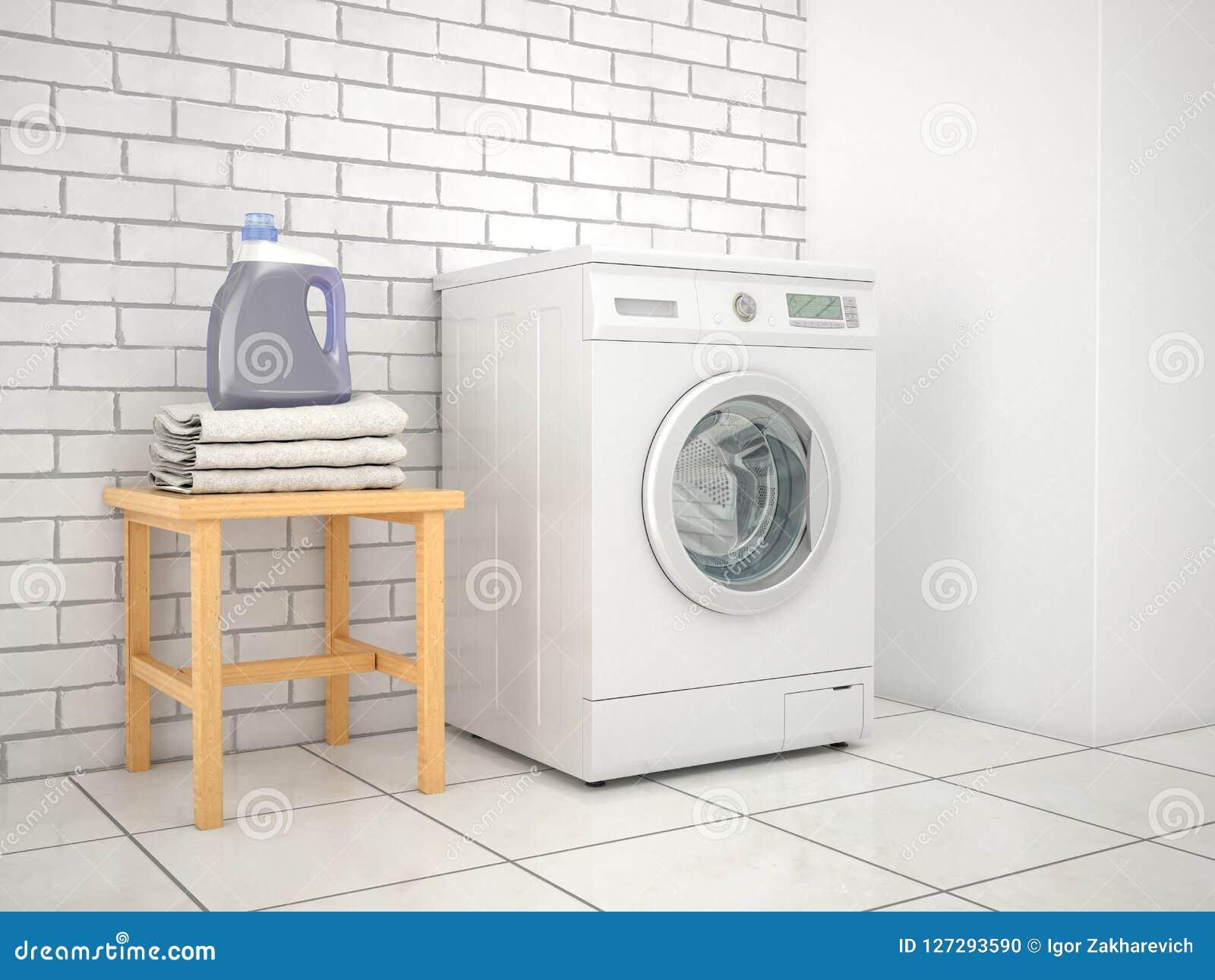 Wäscherei Waschmaschine mit Reinigungsmittel und Tüchern