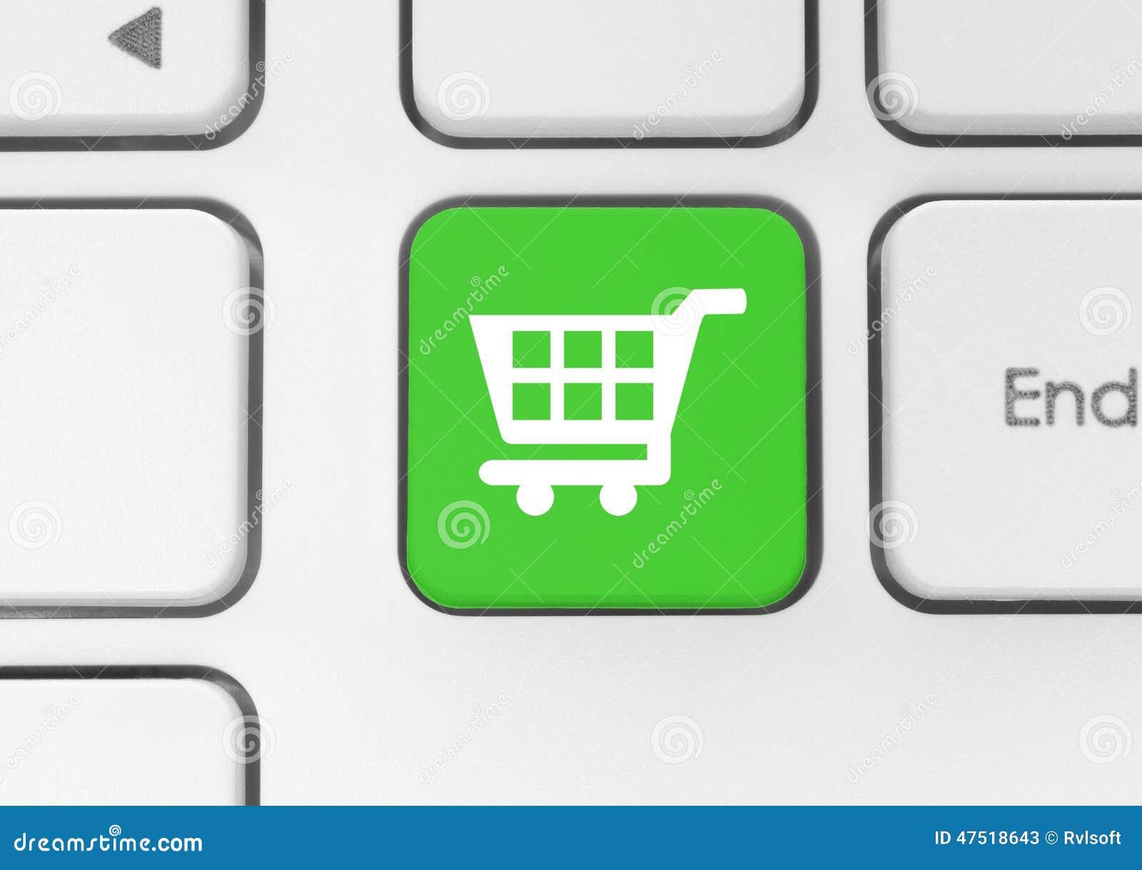 Wózek na zakupy ikona na zielonym klawiaturowym guziku