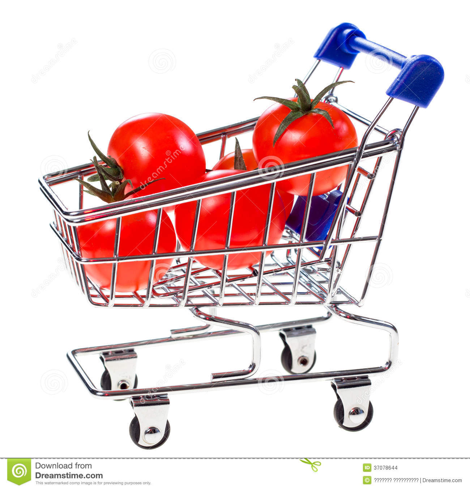 Download Wózek Na Zakupy Z Czereśniowymi Pomidorami Zdjęcie Stock - Obraz złożonej z fura, odosobniony: 37078644
