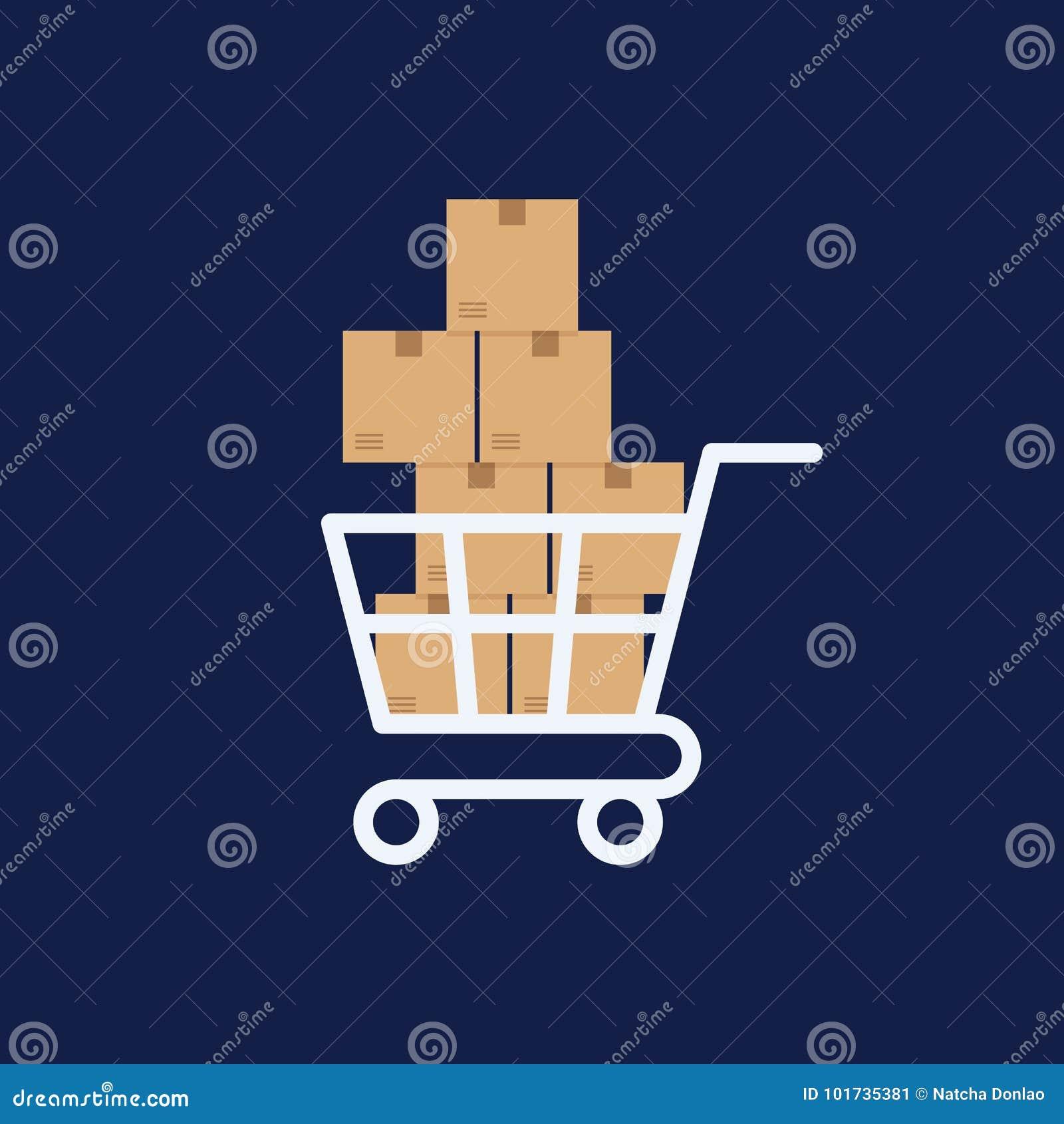 Wózek na zakupy z pudełkami, doręczeniowego pojęcia płaski projekt