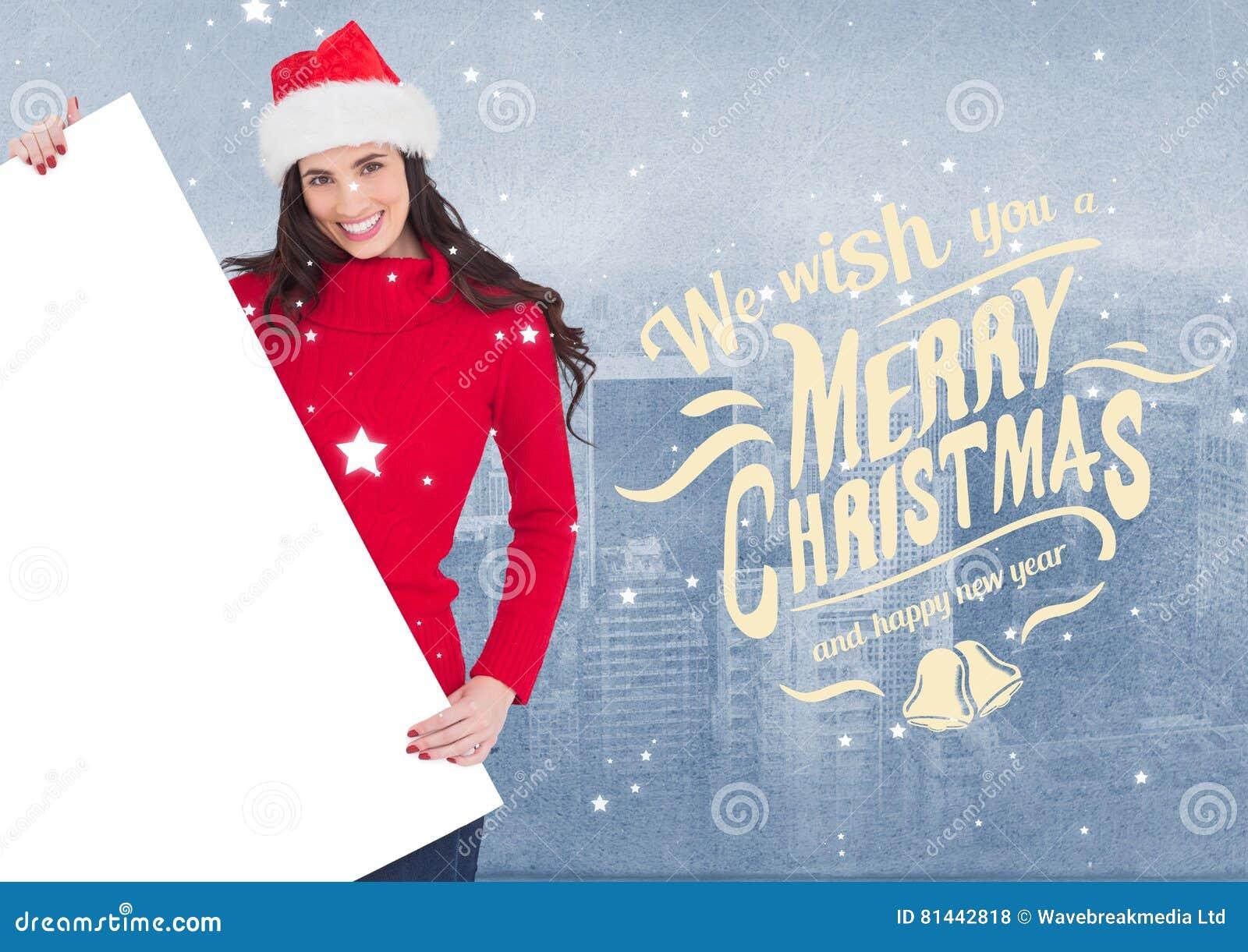 Wünsche Und Frau Der Frohen Weihnachten In Sankt-Hut, Der Ein Leeres ...