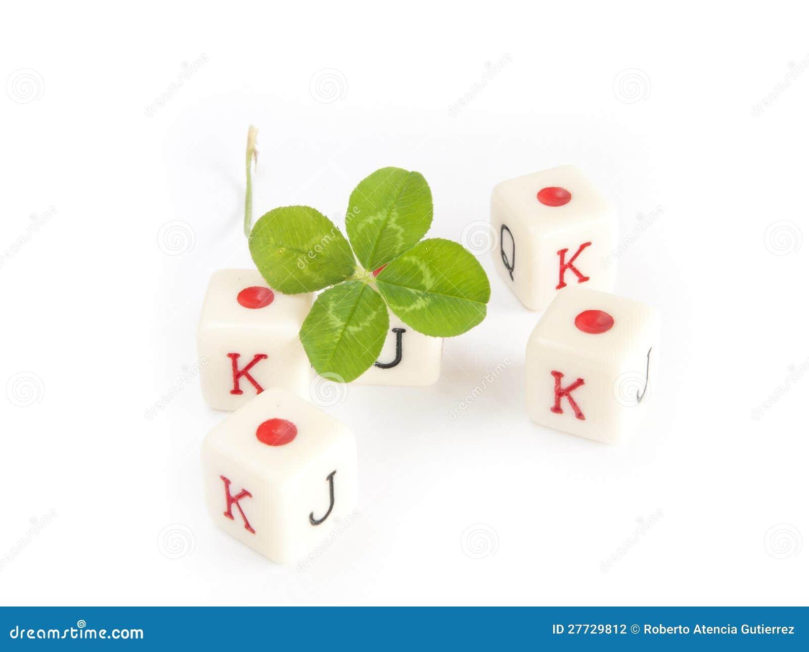 Würfelspiel mit dem Klee mit vier Blättern