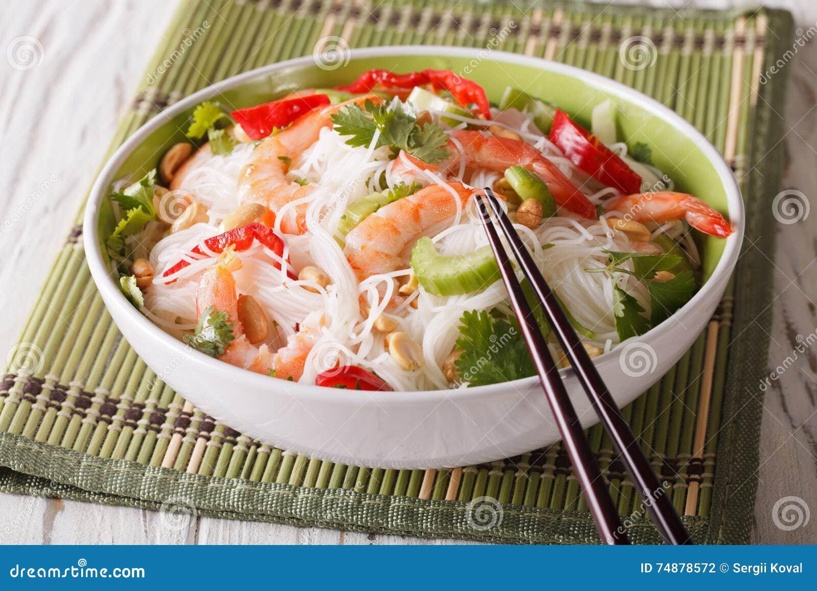 Würziger thailändischer Salatjamswurzel woon Senator mit Meeresfrüchteabschluß oben horizontal