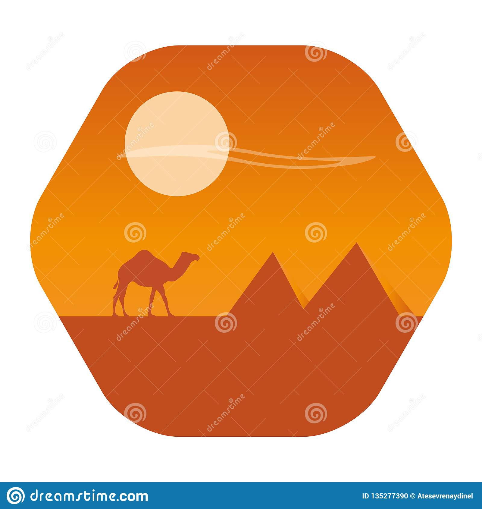 Wüste mit Pyramidenlandschaft Kamelwohnwagen auf Wüste bei Sonnenuntergang auf einem Hintergrund
