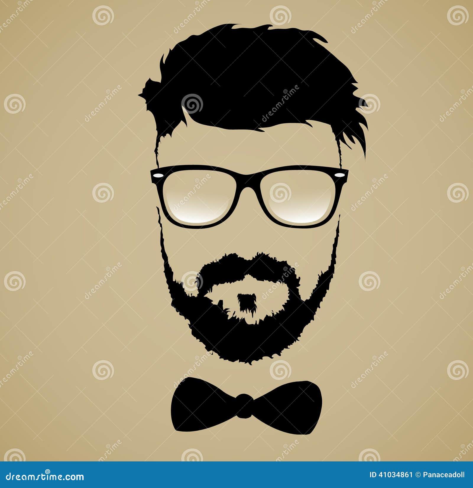 Wąsy brody szkieł fryzura