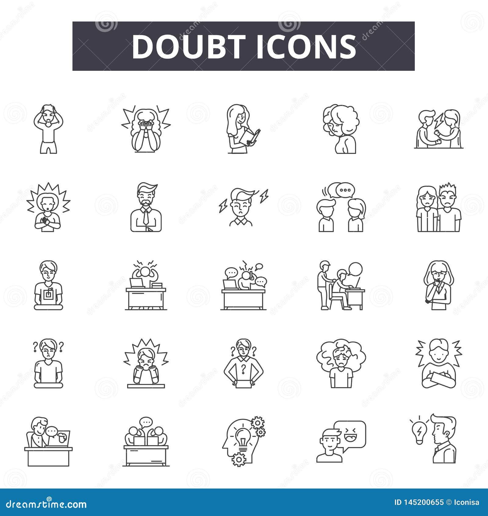 Wątpi kreskowe ikony, znaki, wektoru set, kontur ilustracji pojęcie