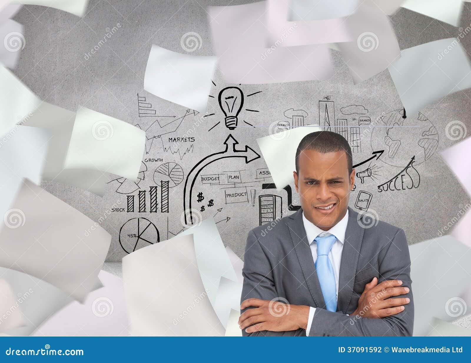 Download Wątpliwy Młody Biznesmen Z Rękami Krzyżować Zdjęcie Stock - Obraz złożonej z wytwarza, mapa: 37091592