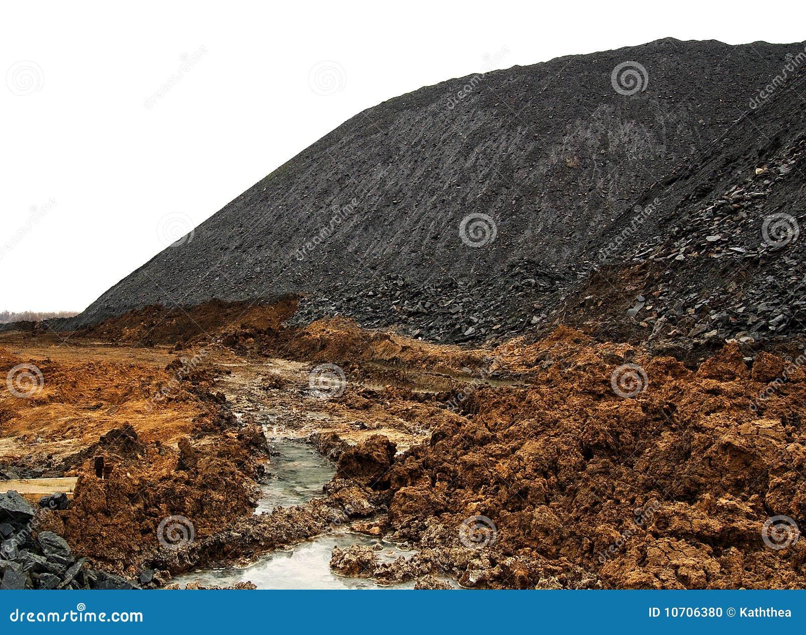 Węglowy rozsypisko odizolowywający terricone odpady biel