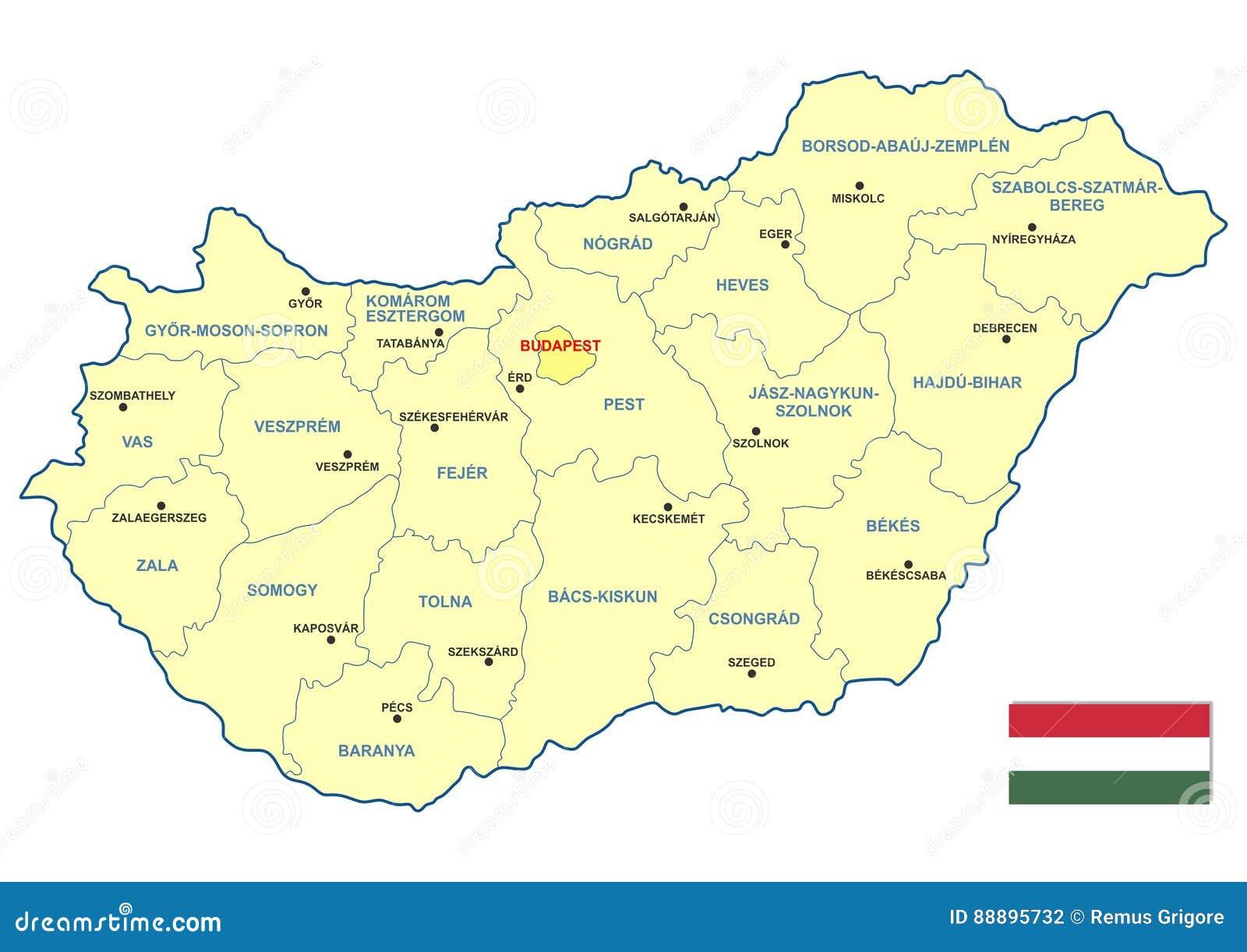Wegry Mapa Ilustracja Wektor Ilustracja Zlozonej Z Yellow 88895732