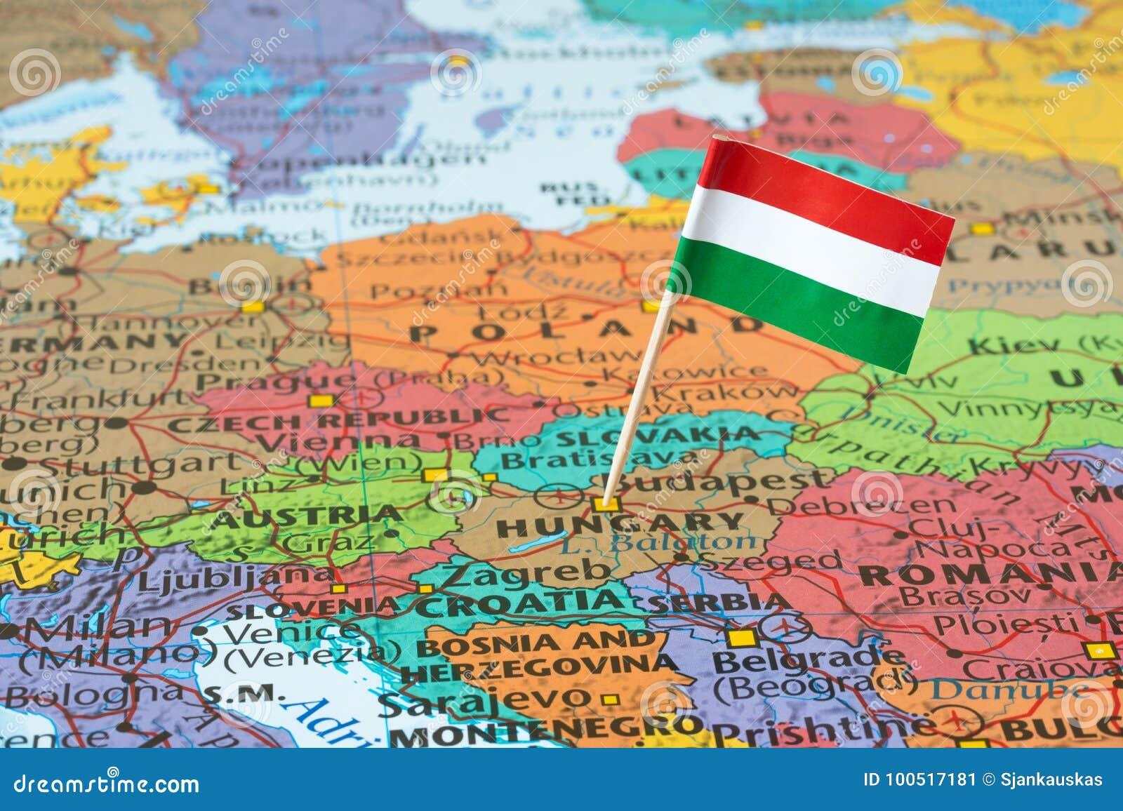 Wegry Mapa I Flaga Szpilka Obraz Stock Obraz Zlozonej Z Wegry