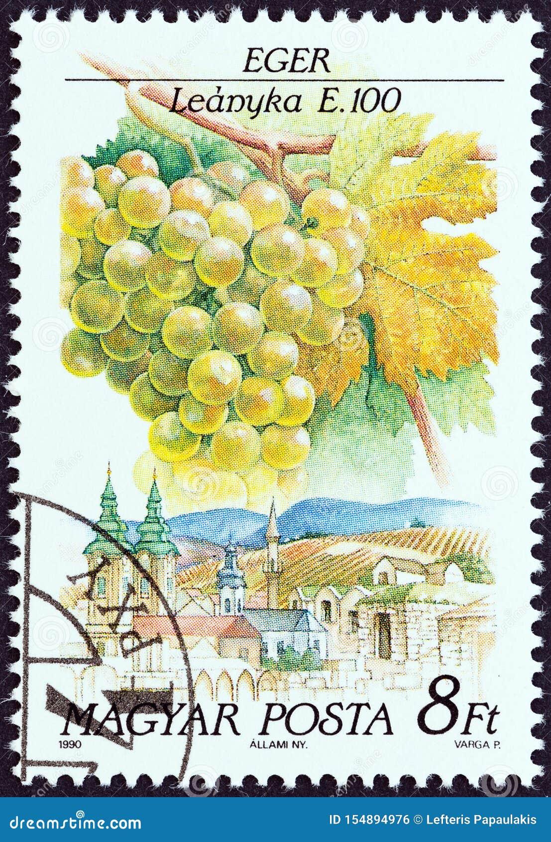WĘGRY - OKOŁO 1990: Znaczek drukujący w Węgry pokazuje Leanyka, Eger, około 1990