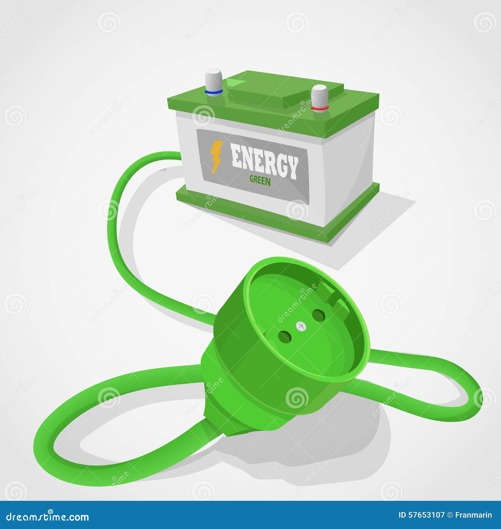 Włącznika zielony energetyczny accumulator