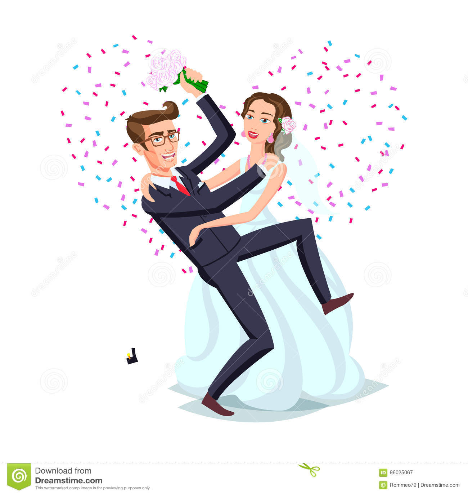 Właśnie zamężna śmieszna para, państwo młodzi taniec po od ślubnej ceremonii menchii tła serca wektoru