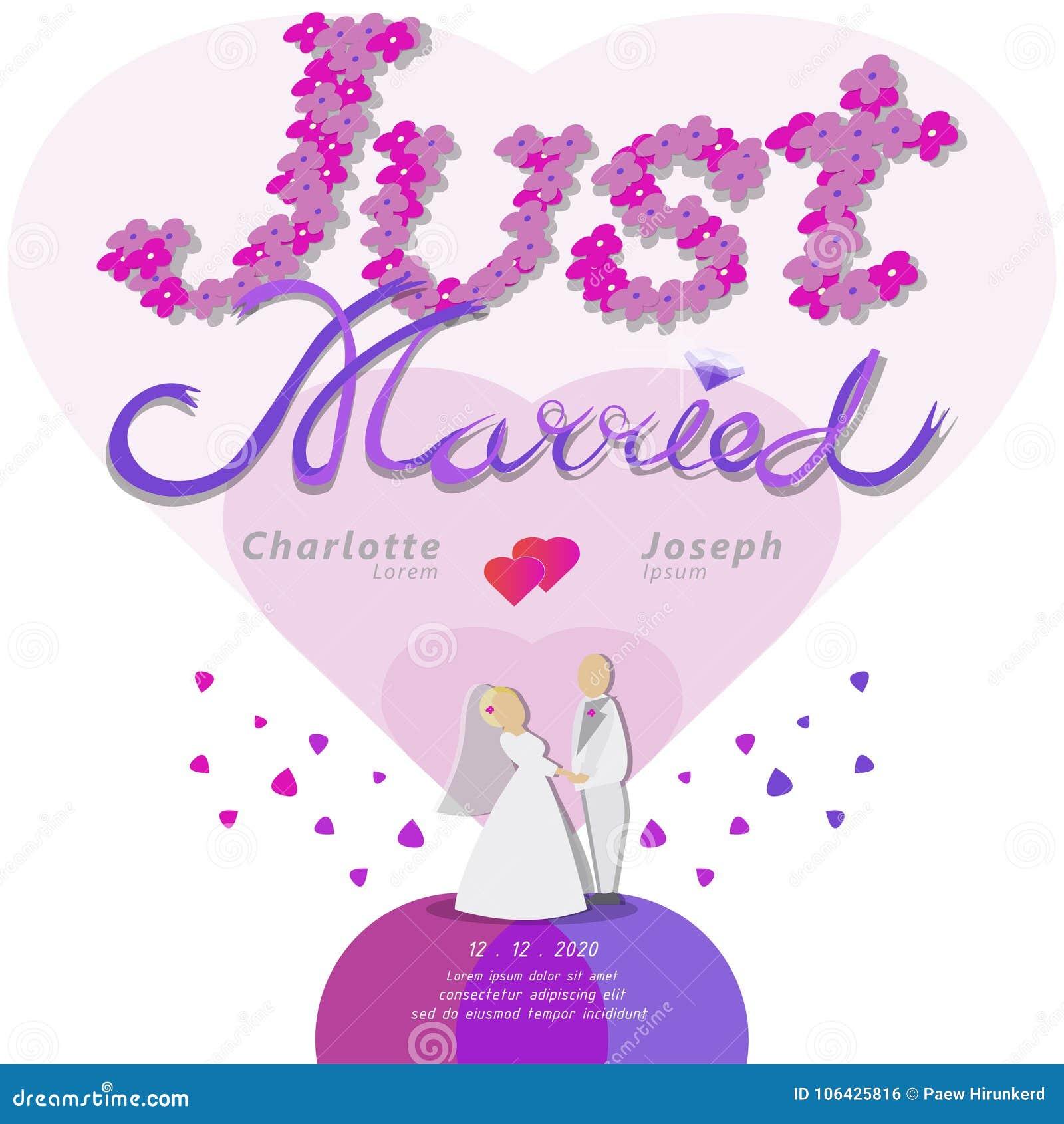 Właśnie zamężny tekst dla ślubnej karty