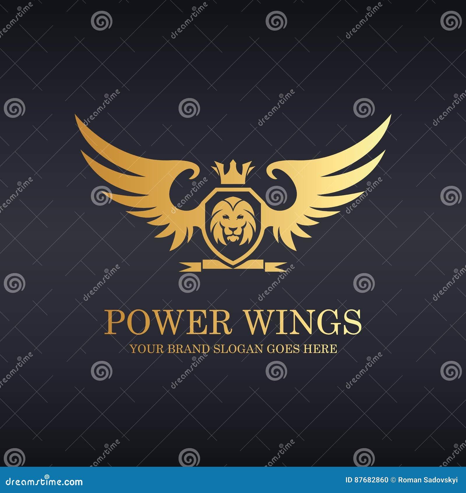 Władz skrzydła Królewski lew osłony logo