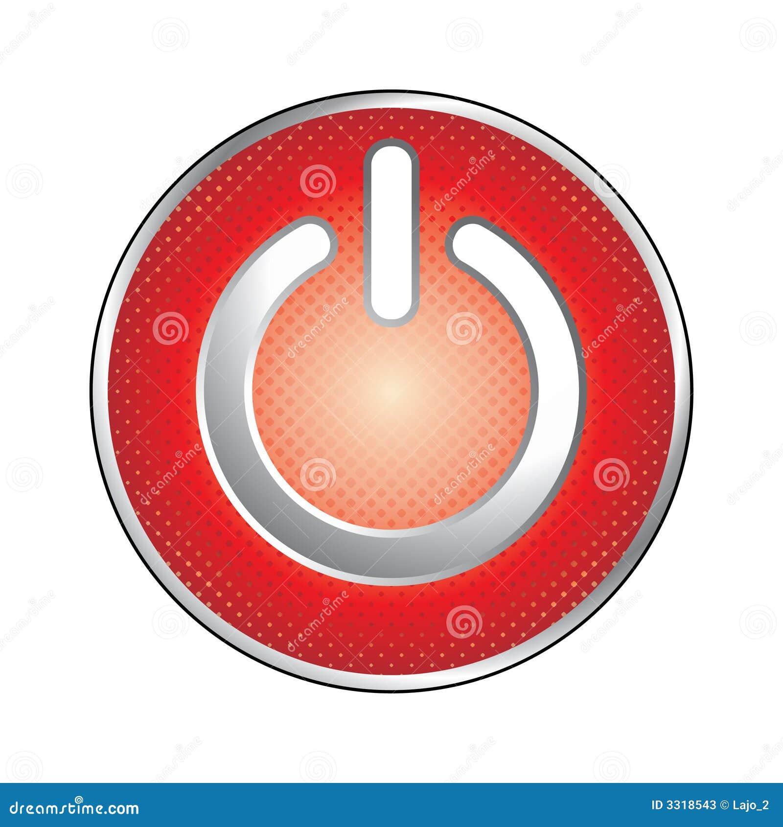 Władze czerwony guzik ikony