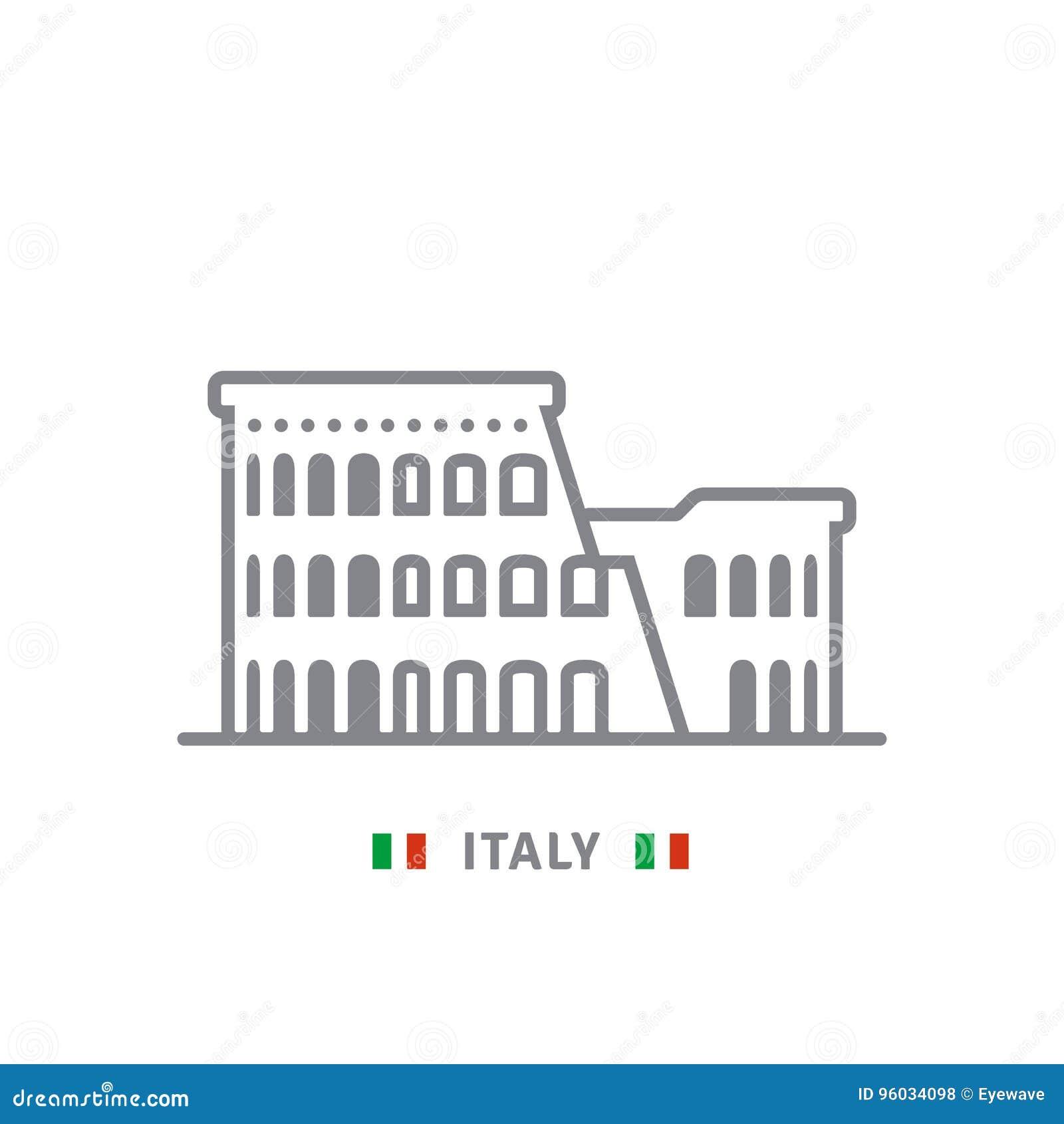 Włochy ikona z colosseum Rzym i włoch zaznaczamy