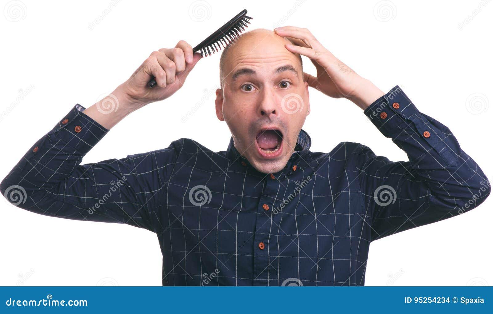 Włosianej straty pojęcie Szokujący łysy mężczyzna