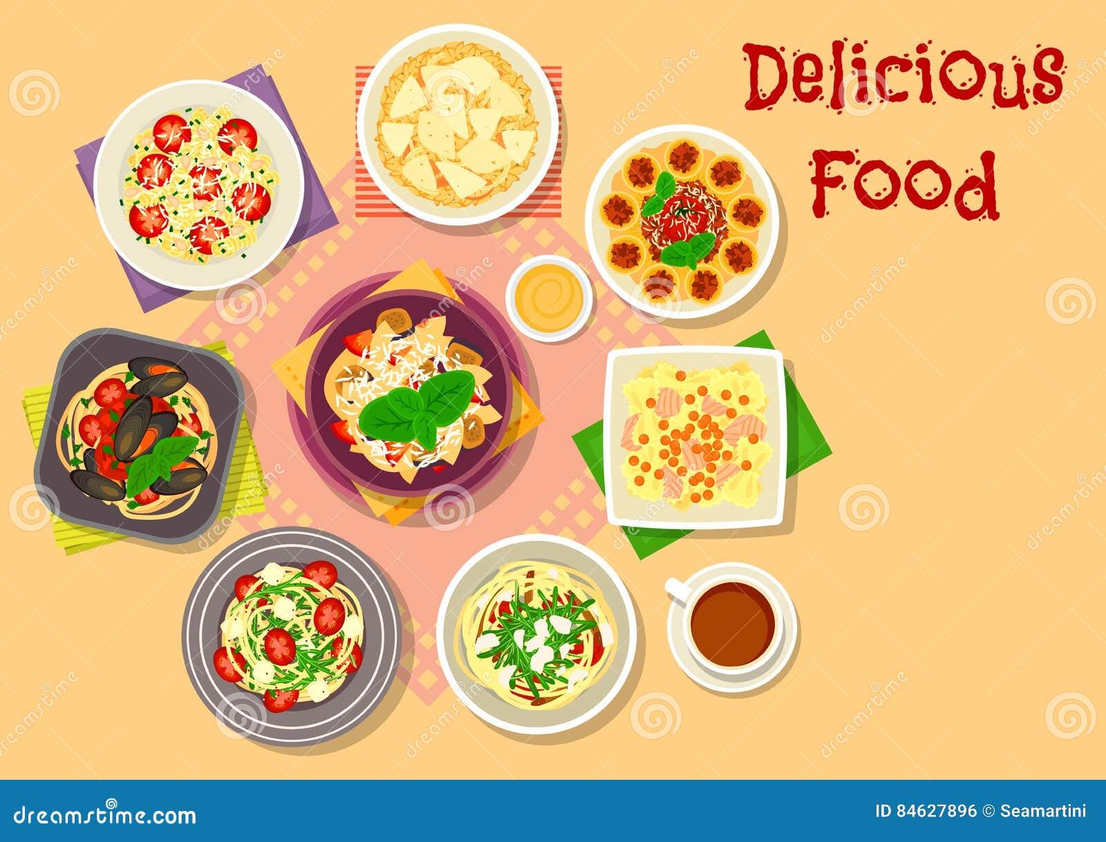 Włoska Kuchni Makaronu Spaghetti I Risotto Ikona
