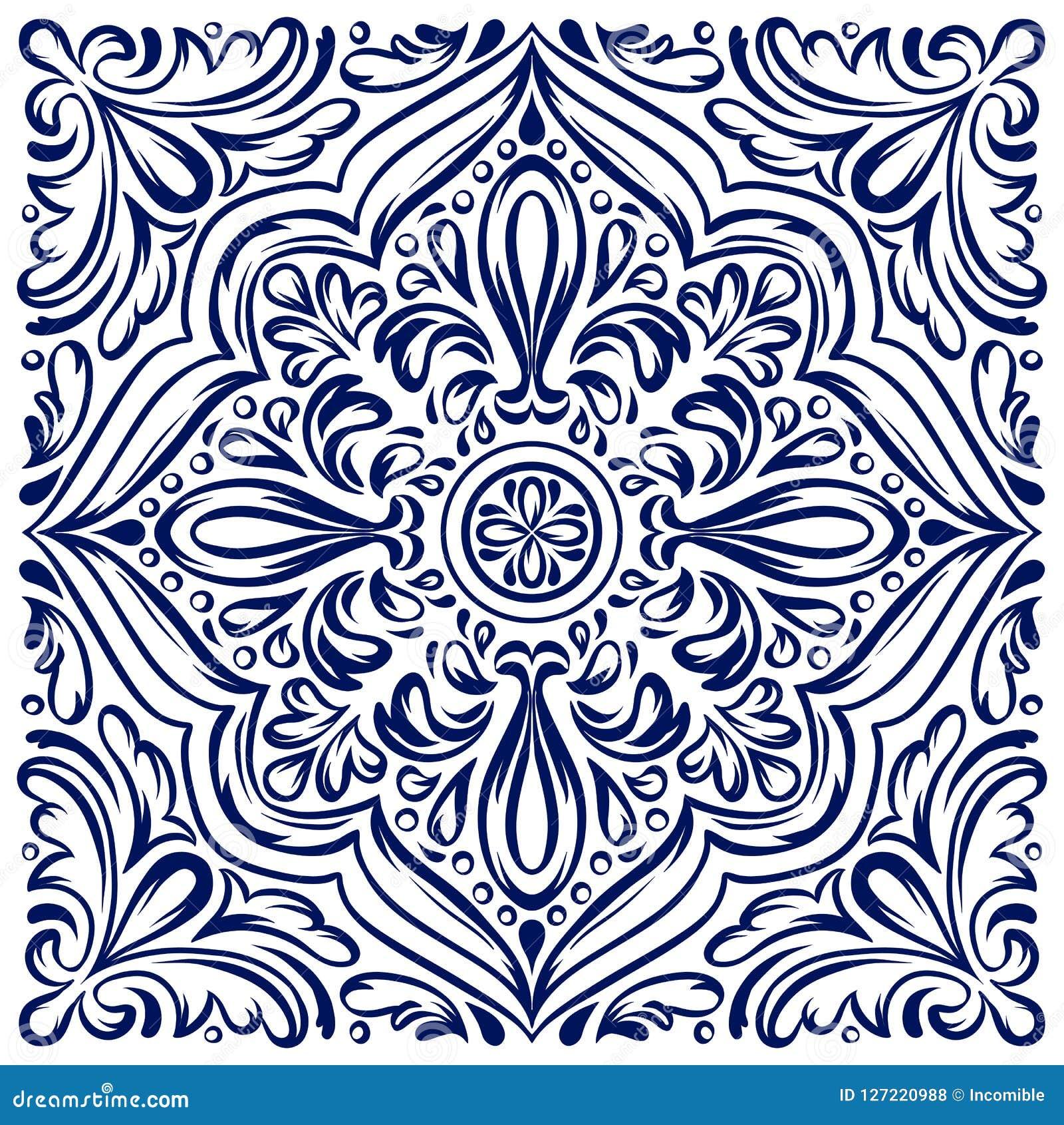 Włoski ceramicznej płytki wzór Etniczny ludowy ornament