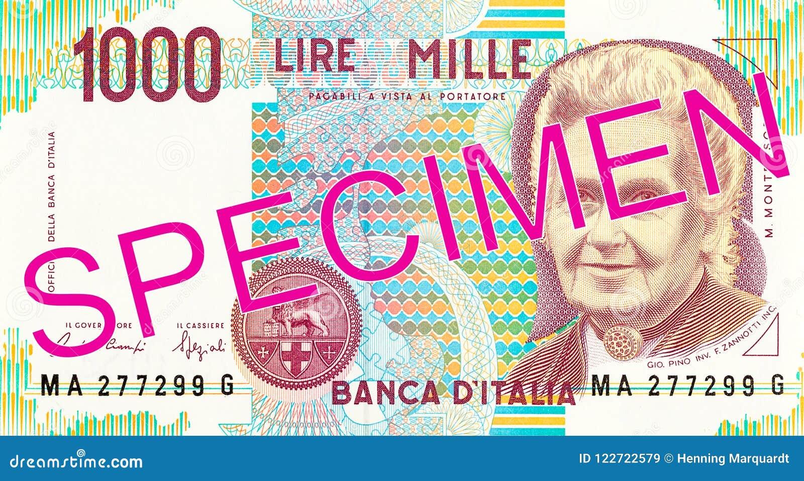 1000 włoskiego lira banknotu awersów