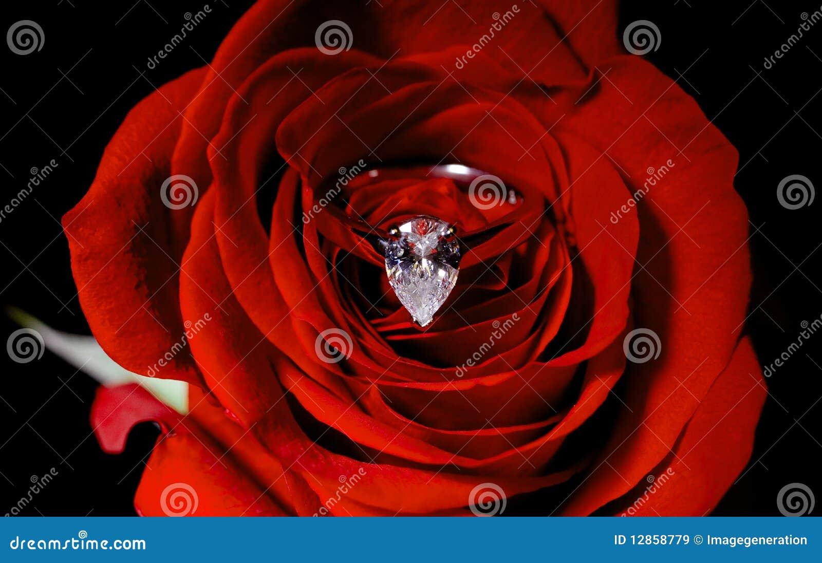 Wśrodku czerwień pierścionku diamentowy zobowiązanie wzrastał