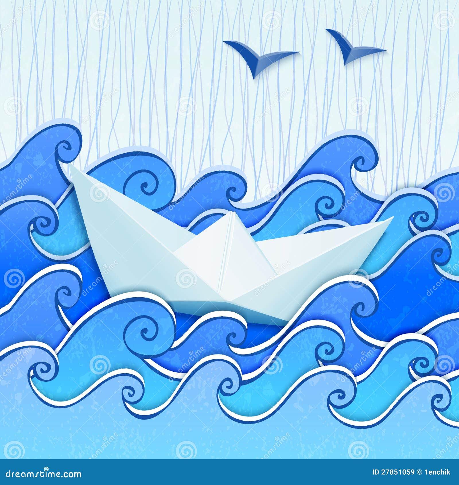 W błękitny kreślącym morzu papierowa łódź