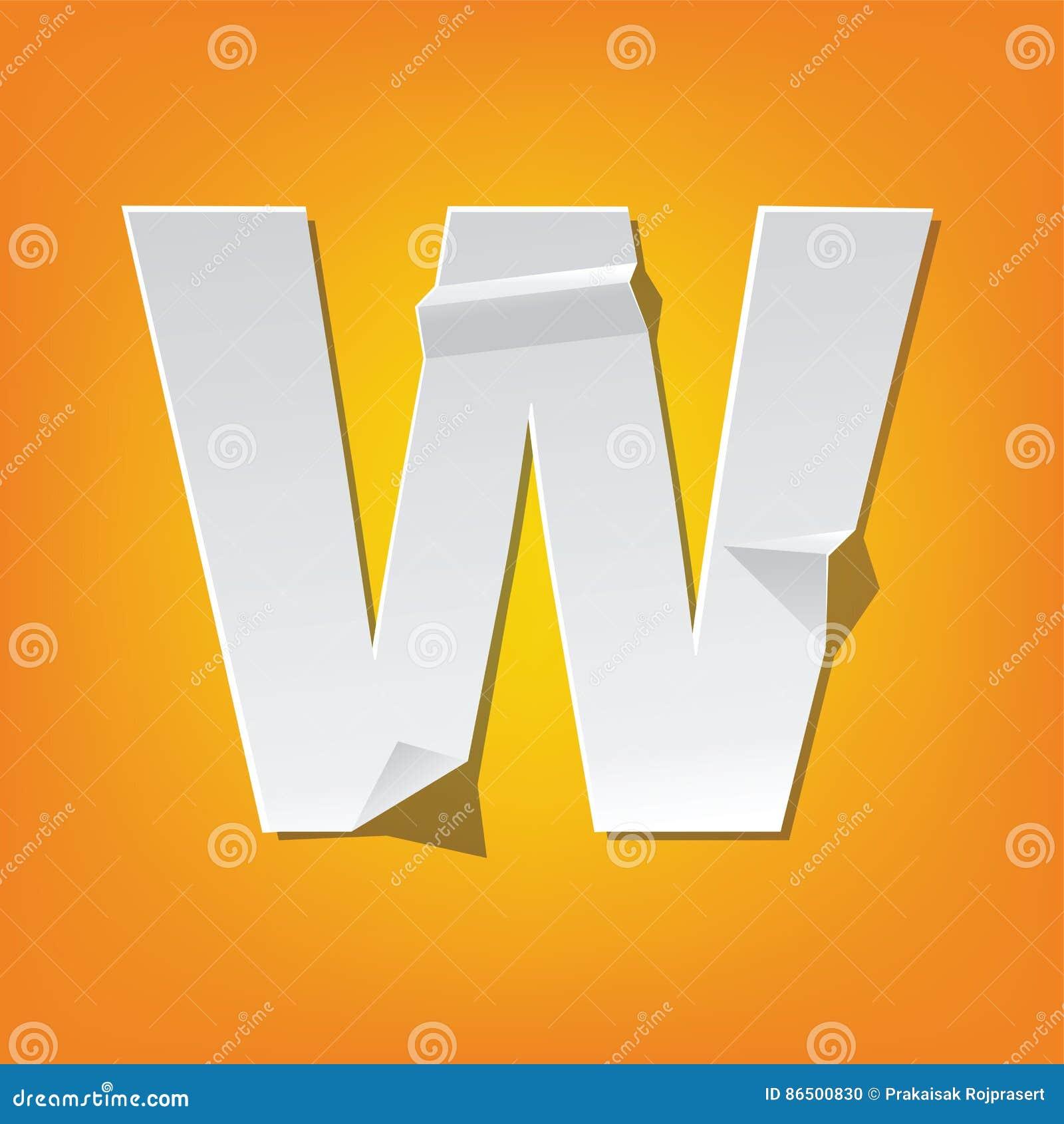 W Capital Letter Fold English Alphabet New Design Stock