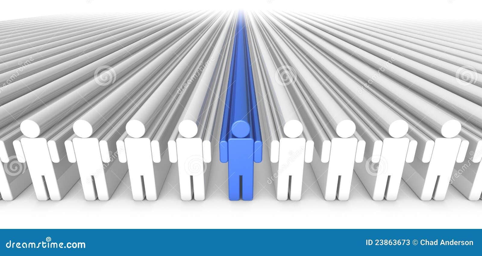 W Centrum Błękitny ikon Osob Ludzie 3D