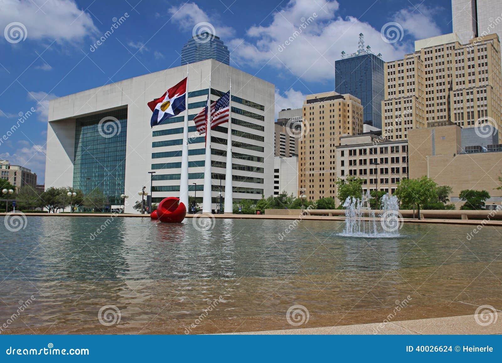 W centrum Dallas: Widok od urzędu miasta