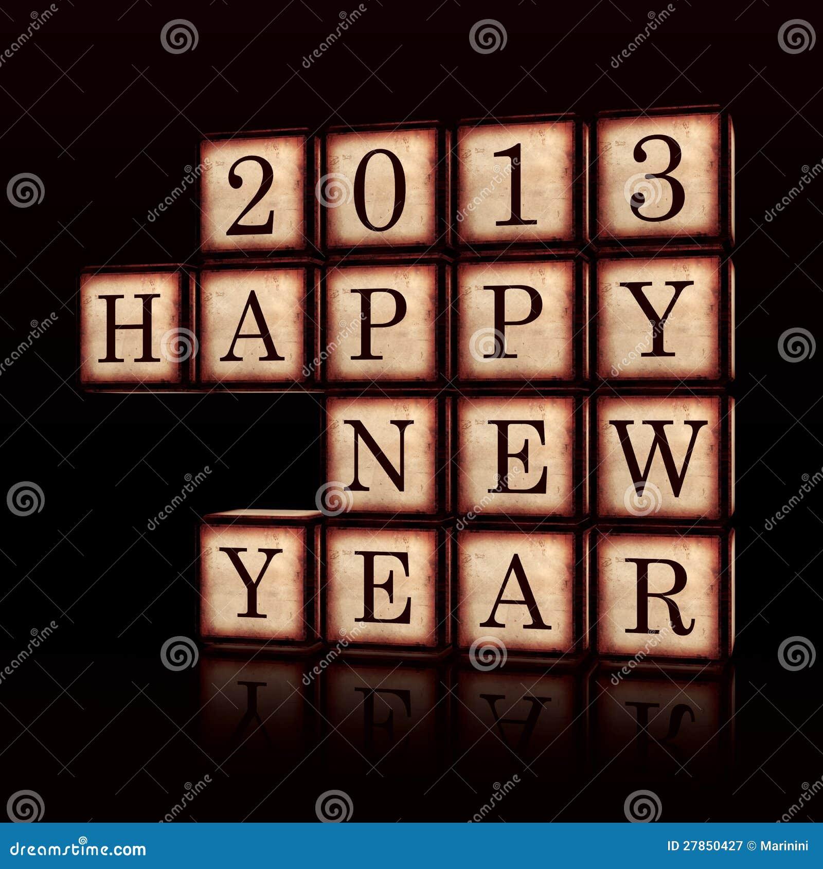 W drewnianych sześcianach szczęśliwy Nowy Rok 2013 3d
