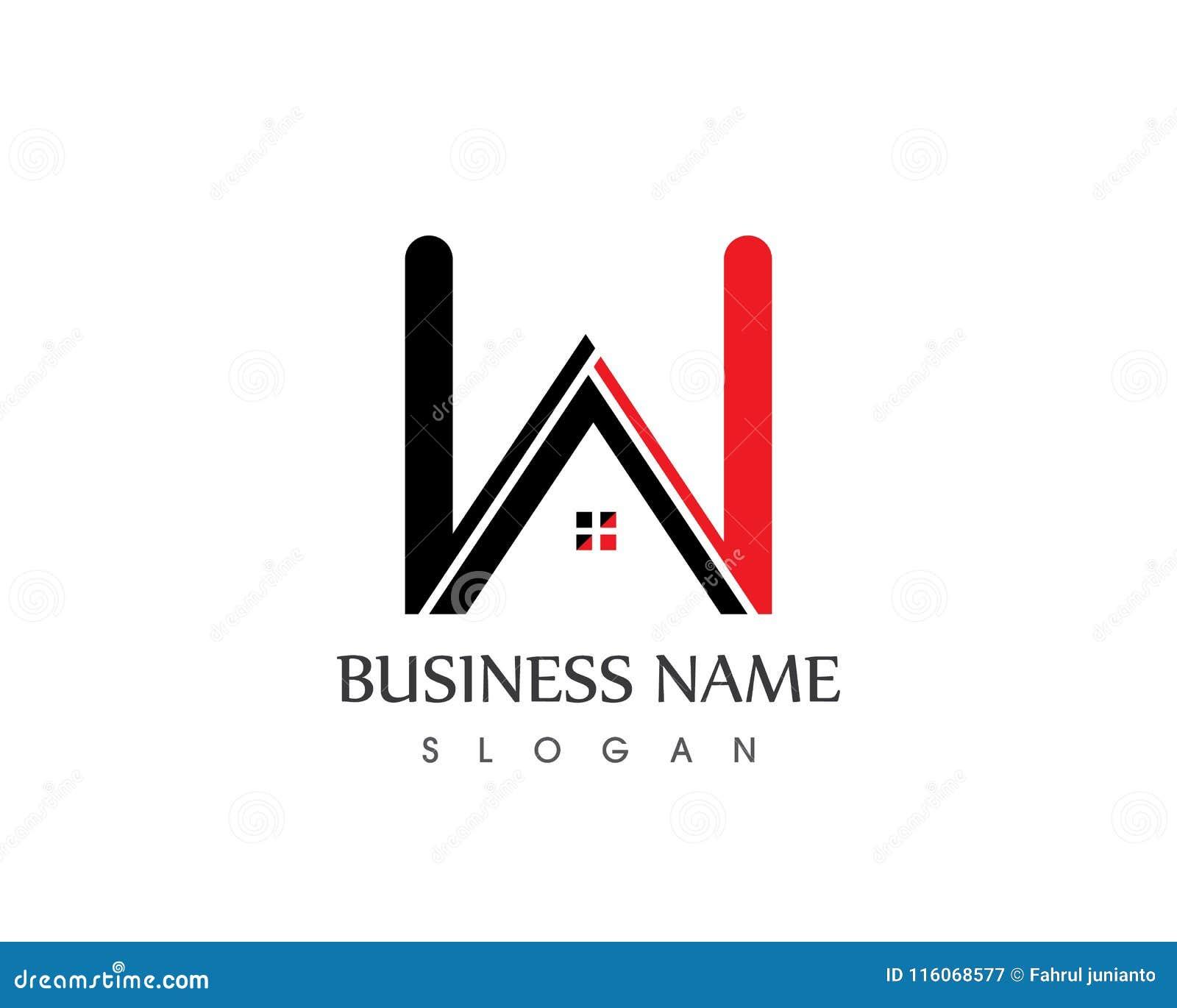 w letter house logo design template
